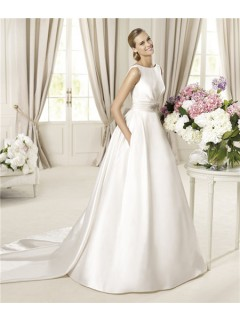 A Line Bateau Neckline V Back Satin Wedding Dress With Detachable Train Bows Buttons