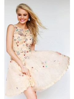 A Line Boat Neck Short Champagne Tulle Lace Crystal Beaded Prom Dress Open Back