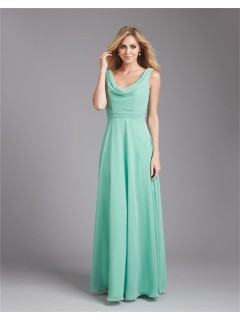 A Line Cowl Neck Deep V Back Long Mint Green Chiffon Wedding Guest Bridesmaid Dress