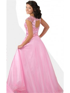 A Line Cut Out Open Back Cap Sleeve Long Light Pink Tulle Beaded Teen Prom Dress