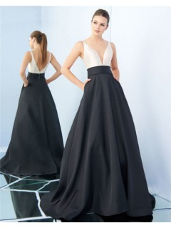 A Line Deep V Neck Black And White Satin Evening Prom Dress With Pockets
