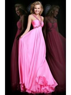 A Line Empire Waist Long Hot Pink Chiffon Draped Prom Dress With Beading Straps