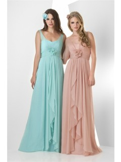 A Line Empire Waist Long Peach Chiffon Ruffle Wedding Guest Bridesmaid Dress With Straps Flower