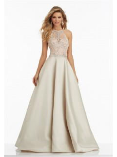 A Line Halter Long Champagne Satin Beaded Prom Dress Criss Cross Straps