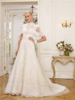 A Line High Neck Cap Sleeve Lace Modest Wedding Dress With Capelet Beaded Sash