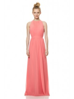 A Line High Neck Keyhole Back Long Coral Chiffon Wedding Guest Bridesmaid Dress