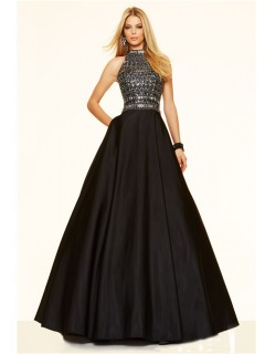A Line High Neck Open Back Long Black Satin Beaded Rhinestone Prom Dress
