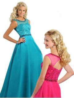 A Line Illusion Neckline Open Back Long Jade Chiffon Beaded Teen Prom Dress