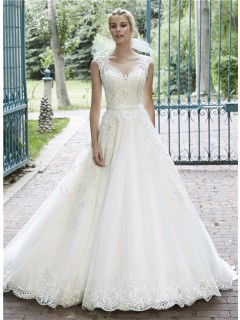 A Line Illusion Neckline See Through Back Lace Sparkly Wedding Dress With Belt