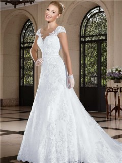 A Line Illusion Neckline Sheer Back Cap Sleeve Tulle Lace Wedding Dress Beading Belt