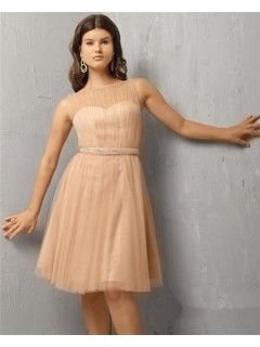 A Line Illusion Neckline Short Nude Tulle Cocktail Party Evening Dress Beaded Belt