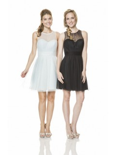 A Line Illusion Scoop Neckline Short Little Black Tulle Occasion Bridesmaid Dress Open Back