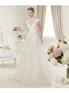 A Line Illusion Sheer Neckline Cap Sleeve Open Back Tulle Lace Wedding Dress