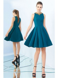 A Line Jewel Neckline Full Back Short Teal Satin Prom Dress Godet Skirt
