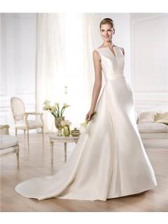 A Line Open Neckline V Back Satin Wedding Dress With Belt Removable Train
