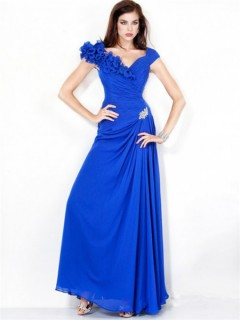 A Line Princess Cap Sleeve Long Royal Blue Chiffon Evening Dress With Flowers