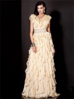 A Line Princess Cap Sleeve Long Yellow Chiffon Layered Ruffles Evening Dress