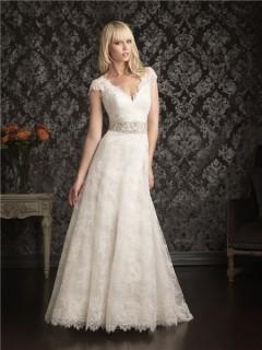 A Line Princess Cap Sleeve V Neck Empire Waist Lace Wedding Dress Sheer Back