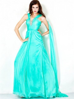 A Line Princess Long Aqua Blue Chiffon Evening Dress With Straps