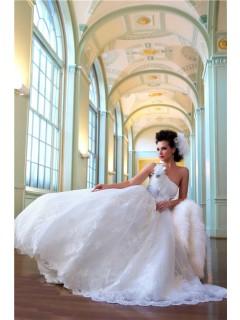 A Line Princess One Shoulder Lace Bridal Wedding Dress With Flower Sash