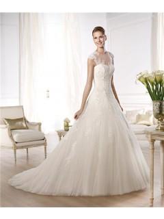 A Line Princess Sheer Illusion Neckline Cap Sleeve Beaded Lace Tulle Wedding Dress