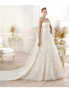 A Line Princess Strapless Sweetheart Lace Wedding Dress With Detachable Train
