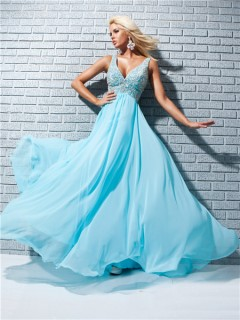 A Line Princess Straps V Neck Long Aqua Blue Chiffon Prom Dress With Beading