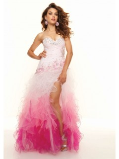 A-Line/Princess Sweetheart Floor-Length White red multi color prom dress with ruffles