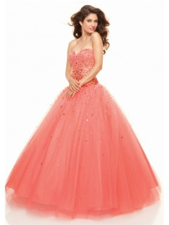 A-Line/Princess Sweetheart Floor-Length coral tulle prom dress with sequins