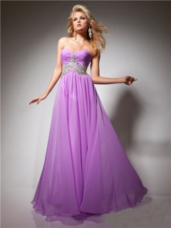 A Line Princess Sweetheart Long Purple Lilac Flowy Chiffon Prom Dress With Beading
