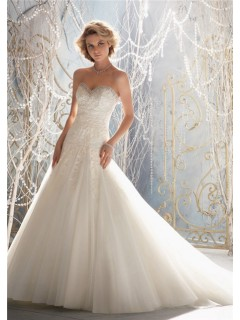 A Line Princess Sweetheart Pleated Tulle Lace Beaded Wedding Dress Corset Back