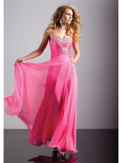 A-Line/Princess sweetheart long hot pink chiffon prom dress with beading and corset