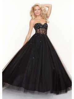 A-Line/Princess sweetheart see through black tulle prom dress with beading