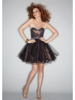 Ball gown sweetheart short/mini black sequin prom dress with beading