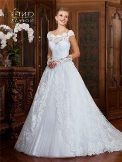 A Line Scalloped Neckline Cap Sleeve Vintage Lace Wedding Dress