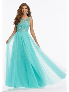 A Line Scoop Neck Open Back Long Aqua Tulle Beaded Prom Dress