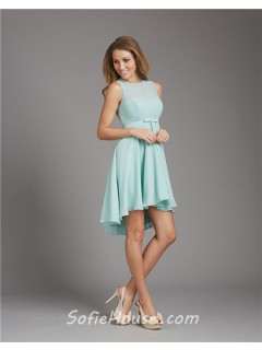 A Line Scoop Neck Open Back Short Light Blue Chiffon Bridesmaid Dress With Bow Sash