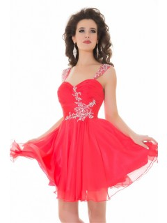 A Line Short/ Mini Red Chiffon Beaded Cocktail Prom Dress With Strap