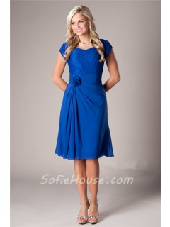 A Line Short Sleeves Royal Blue Chiffon Lace Party Bridesmaid Dress With Flower