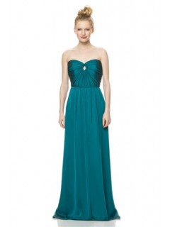 A Line Strapless Front Keyhole Long Jade Green Chiffon Wedding Guest Bridesmaid Dress