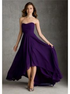 A Line Strapless High Low Hem Purple Chiffon Wedding Party Bridesmaid Dress