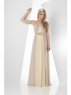 A Line Strapless Long Champagne Daffodil Chiffon Two Tone Bridesmaid Dress With Belt Flowers