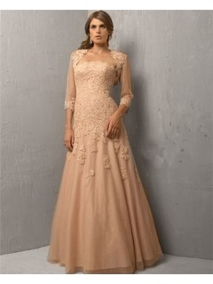 A Line Strapless Long Champagne Tulle Lace Evening Dress With Bolero Jacket