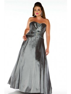 A Line Strapless Long Charcoal Grey Taffeta Beaded Plus Size Evening Prom Dress