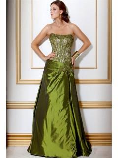 A Line Strapless Long Green Taffeta Beaded Corset Evening Wear Dress