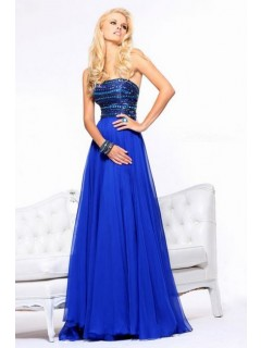 A Line Strapless Long Royal Blue Chiffon Beaded Crystal Evening Prom Dress