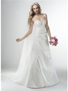 A Line Strapless Sweetheart Silk Satin Draped Wedding Dress Corset Back