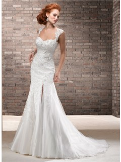 A Line Sweetheart Chiffon Lace Wedding Dress With Slit Detachable Straps Sash