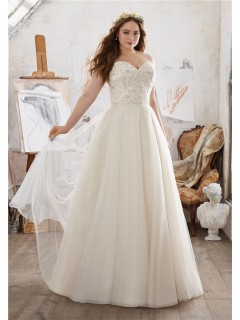 A Line Sweetheart Embroidery Satin Tulle Plus Size Wedding Dress