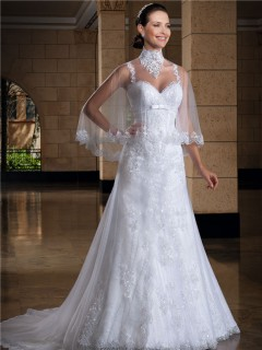 A Line Sweetheart Lace Straps Shawl Wedding Dress With Bow Belt